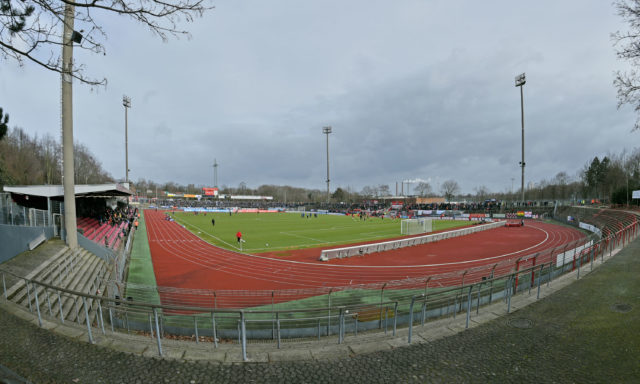 COLOGNE, GERMANY - FEBRUARY 08: (EDITORS NOTE: A fisheye lens was used creating this photo) A general view of the stadium prior to the Third League match between between Fortuna Koeln and Arminia Bielefeld at Suedstadion on February 8, 2015 in Cologne, Germany. (Photo by Thomas Starke/Bongarts/Getty Images)
