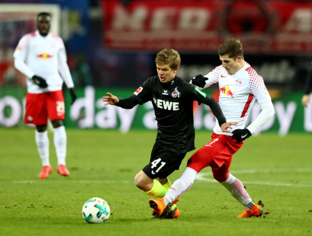 LEIPZIG, GERMANY - FEBRUARY 25: Marcel Sabitzer (R) of Leipzig and Vincent Koziello of Koeln battle for the ball during the Bundesliga match between RB Leipzig and 1. FC Koeln at Red Bull Arena on February 25, 2018 in Leipzig, Germany. (Photo by Martin Rose/Bongarts/Getty Images)