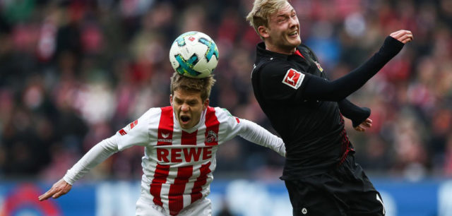 COLOGNE, GERMANY - MARCH 18: Vincent Koziello of 1.FC Koeln and Julian Brandt #10 of Bayer Leverkusen during the Bundesliga match between 1. FC Koeln and Bayer 04 Leverkusen at RheinEnergieStadion on March 18, 2018 in Cologne, Germany. (Photo by Maja Hitij/Bongarts/Getty Images)