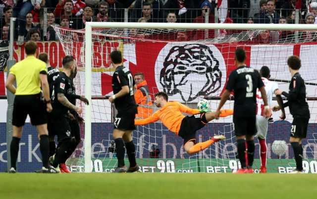 COLOGNE, GERMANY - MARCH 04: Milos Jojic of Koeln (not in the picture) scores the second goal during the Bundesliga match between 1. FC Koeln and VfB Stuttgart at RheinEnergieStadion on March 4, 2018 in Cologne, Germany. (Photo by Christof Koepsel/Bongarts/Getty Images)