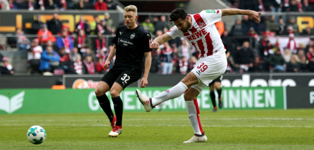 COLOGNE, GERMANY - MARCH 04: Claudio Pizarro of Koeln scores the first goal during the Bundesliga match between 1. FC Koeln and VfB Stuttgart at RheinEnergieStadion on March 4, 2018 in Cologne, Germany. (Photo by Christof Koepsel/Bongarts/Getty Images)