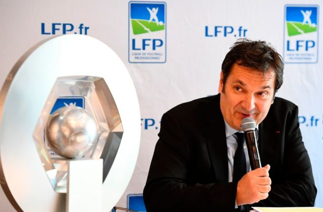 General director of the French Professional Football League (LFP) Didier Quillot gives a press conference to annonce the name of the partner 'Conforama' of the league for the 2017/2018 season on April 20, 2017 in Paris. / AFP PHOTO / FRANCK FIFE (Photo credit should read FRANCK FIFE/AFP/Getty Images)