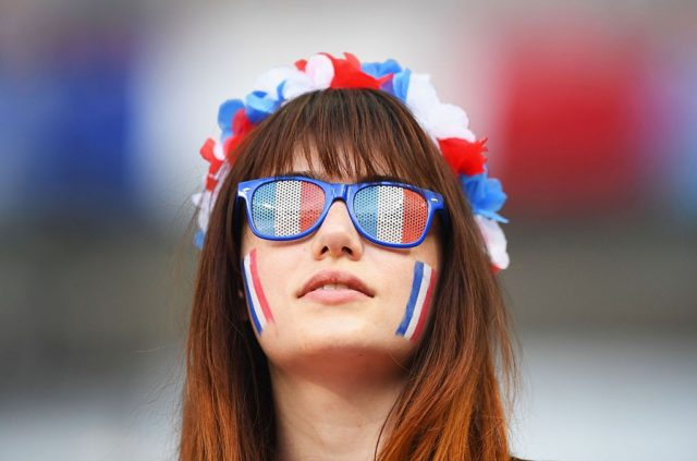 PARIS, FRANCE - JULY 10: A France fan enjoys the atmosphere prior to the UEFA EURO 2016 Final match between Portugal and France at Stade de France on July 10, 2016 in Paris, France. (Photo by Laurence Griffiths/Getty Images)