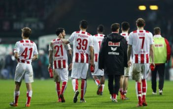 BREMEN, GERMANY - MARCH 12: Players of Koeln walk off the pitch after the Bundesliga match between SV Werder Bremen and 1. FC Koeln at Weserstadion on March 12, 2018 in Bremen, Germany. (Photo by Lars Baron/Bongarts/Getty Images)