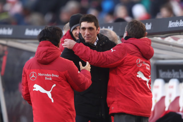 STUTTGART, GERMANY - FEBRUARY 24: Tayfun Korkut, coach of Stuttgart, celebrates after the Bundesliga match between VfB Stuttgart and Eintracht Frankfurt at Mercedes-Benz Arena on February 24, 2018 in Stuttgart, Germany. (Photo by Alex Grimm/Bongarts/Getty Images)