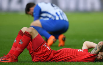 BERLIN, GERMANY - APRIL 14: Marcel Risse of Koeln lies on the pitch dejected after the Bundesliga match between Hertha BSC and 1. FC Koeln at Olympiastadion on April 14, 2018 in Berlin, Germany. (Photo by Stuart Franklin/Bongarts/Getty Images)