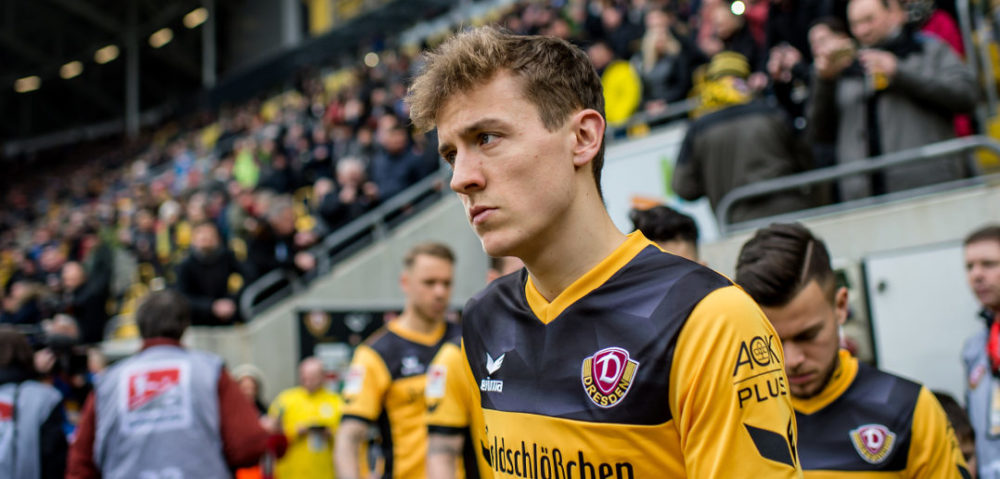 DRESDEN, GERMANY - FEBRUARY 18: Niklas Hauptmann of Dresden enters the stadium prior the Second Bundesliga match between SG Dynamo Dresden and SSV Jahn Regensburg at DDV-Stadion on February 18, 2018 in Dresden, Germany. (Photo by Thomas Eisenhuth/Bongarts/Getty Images)