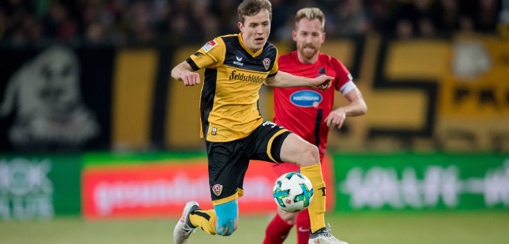 DRESDEN, GERMANY - MARCH 09: Niklas Hauptmann of Dresden plays the ball during the Second Bundesliga match between SG Dynamo Dresden and 1. FC Heidenheim 1846 at DDV-Stadion on March 9, 2018 in Dresden, Germany. (Photo by Thomas Eisenhuth/Bongarts/Getty Images)