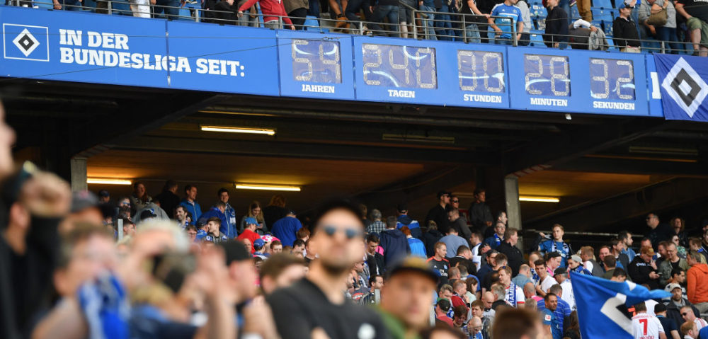 HAMBURG, GERMANY - APRIL 21: The Bundesliga clock ticks during the Bundesliga match between Hamburger SV and Sport-Club Freiburg at Volksparkstadion on April 21, 2018 in Hamburg, Germany. (Photo by Stuart Franklin/Bongarts/Getty Images)