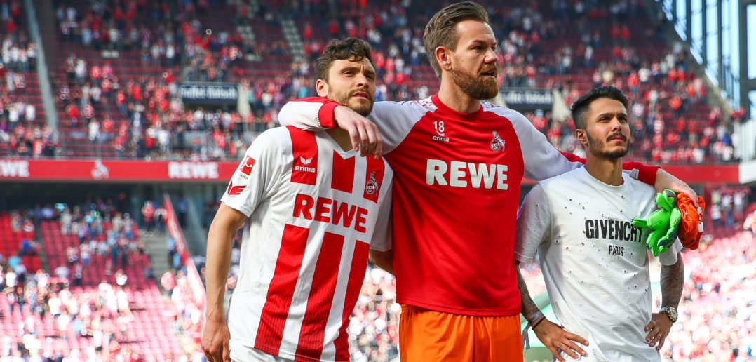 COLOGNE, GERMANY - MAY 05: Players of 1.FC Koeln react after the Bundesliga match between 1. FC Koeln and FC Bayern Muenchen at RheinEnergieStadion on May 5, 2018 in Cologne, Germany. (Photo by Maja Hitij/Bongarts/Getty Images)