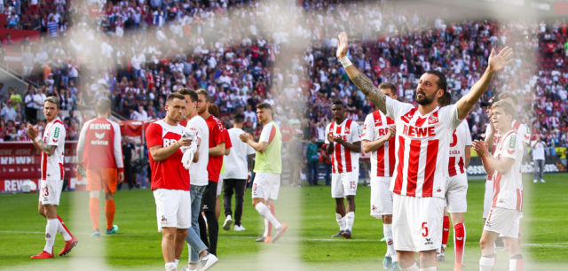 COLOGNE, GERMANY - MAY 05: Dominic Maroh #5 of 1.FC Koeln waves to the fans after the Bundesliga match between 1. FC Koeln and FC Bayern Muenchen at RheinEnergieStadion on May 5, 2018 in Cologne, Germany. (Photo by Maja Hitij/Bongarts/Getty Images)