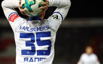 KARLSRUHE, GERMANY - MARCH 07: Matthias Bader of Karlsruhe holds the ball during the 3. Liga match between Karlsruher SC and SG Sonnenhof Grossaspach at Wildparkstadion on March 07, 2018 in Karlsruhe, Germany. (Photo by Alex Grimm/Bongarts/Getty Images)
