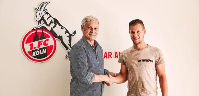 Armin Veh und Louis Schaub bei der Verkündung des Transfers zum 1. FC Köln
