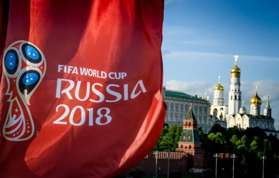 A photograph taken on May 30, 2018 shows the FIFA World Cup 2018 flag in front of the Kremlin in Moscow. - The FIFA World Cup 2018 tournament kicks off on June 14, 2018. (Photo by Mladen ANTONOV / AFP) (Photo credit should read MLADEN ANTONOV/AFP/Getty Images)