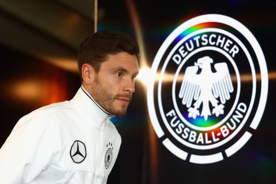 STUTTGART, GERMANY - AUGUST 30: Jonas Hector of Germany arrives for a press conference of the German National team at Mercedes-Benz-Museum on August 30, 2017 in Stuttgart, Germany. (Photo by Alexander Hassenstein/Bongarts/Getty Images)