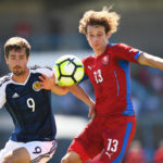 "Czech Republic's Alex Kral (R) vies with Scotland's forward Ryan Hardie during the Under 21 international football third place match Czech Republic vs Scotland at the de Lattre-de-Tassigny stadium in Aubagne, southern France, on June 10, 2017 during the 45th Toulon Tournament ""Festival international Espoirs"". / AFP PHOTO / ANNE-CHRISTINE POUJOULAT (Photo credit should read ANNE-CHRISTINE POUJOULAT/AFP/Getty Images)"