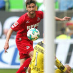 WOLFSBURG, GERMANY - MAY 12: Jonas Hector of Koeln scores their teams first goal during the Bundesliga match between VfL Wolfsburg and 1. FC Koeln at Volkswagen Arena on May 12, 2018 in Wolfsburg, Germany. (Photo by Selim Sudheimer/Bongarts/Getty Images)
