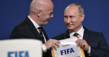 FIFA president Gianni Infantino (L) and Russian President Vladimir Putin attend the 68th FIFA Congress at the Expocentre in Moscow on June 13, 2018. (Photo by Alexey NIKOLSKY / SPUTNIK / AFP) (Photo credit should read ALEXEY NIKOLSKY/AFP/Getty Images)