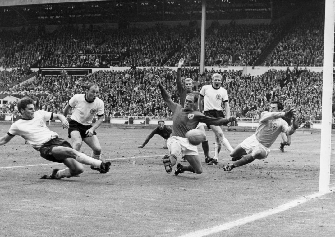 West Germany's Wolfgang Weber pokes the ball past England's diving goalkeeper, Gordon Banks, for an equaliser in the last minute of normal time in the World Cup Final at Wembley. England went on to win the 1966 World Cup 4-2 after extra time. (Photo by Keystone/Getty Images)