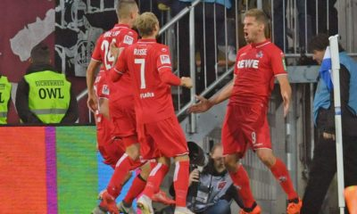 BIELEFELD, GERMANY - SEPTEMBER 28: (L-R) Dominick Drexler, Marcel Risse and Simon Terodde of Koeln celebrate their teams second goal during the Second Bundesliga match between DSC Arminia Bielefeld and 1. FC Koeln at Schueco Arena on September 28, 2018 in Bielefeld, Germany. (Photo by Thomas Starke/Bongarts/Getty Images)