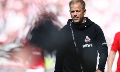 HAMBURG, GERMANY - SEPTEMBER 02: Head coach Markus Anfang of Koeln looks up prior to the Second Bundesliga match between FC St. Pauli and 1. FC Koeln at Millerntor Stadium on September 2, 2018 in Hamburg, Germany. (Photo by Oliver Hardt/Bongarts/Getty Images)