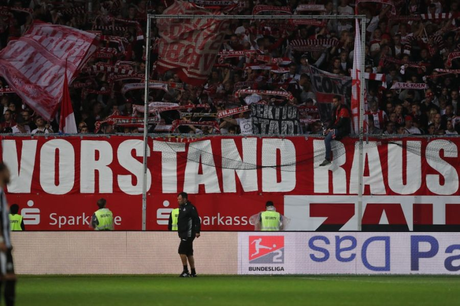 SANDHAUSEN, GERMANY - SEPTEMBER 21: A banner against the Management of Cologne is seen during the Second Bundesliga match between SV Sandhausen and 1. FC Koeln at BWT-Stadion am Hardtwald on September 21, 2018 in Sandhausen, Germany. (Photo by Christian Kaspar-Bartke/Bongarts/Getty Images)