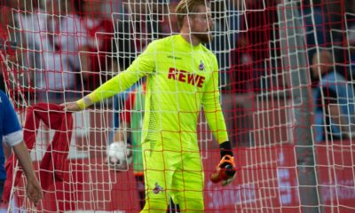 COLOGNE, GERMANY - AUGUST 13: Timo Horn of Cologne looks on after the Second Bundesliga match between 1. FC Koeln and 1. FC Union Berlin at RheinEnergieStadion on August 13, 2018 in Cologne, Germany. (Photo by Juergen Schwarz/Bongarts/Getty Images)