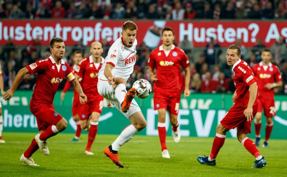 COLOGNE, GERMANY - OCTOBER 08: Simon Terodde of Koeln runs with the ball during the Second Bundesliga match between 1. FC Koeln and MSV Duisburg at RheinEnergieStadion on October 8, 2018 in Cologne, Germany. (Photo by Lars Baron/Bongarts/Getty Images)