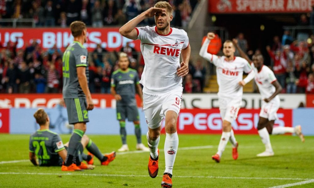COLOGNE, GERMANY - SEPTEMBER 25: Simon Terodde of Koeln celebrates after scoring his teams second goal during the Second Bundesliga match between 1. FC Koeln and FC Ingolstadt 04 at RheinEnergieStadion on September 25, 2018 in Cologne, Germany. (Photo by Lars Baron/Bongarts/Getty Images
