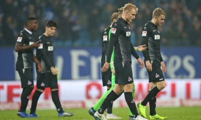 HAMBURG, GERMANY - NOVEMBER 05: Players of 1. FC Koeln react after losing in the Second Bundesliga match between Hamburger SV and 1. FC Koeln at Volksparkstadion on November 5, 2018 in Hamburg, Germany. (Photo by Cathrin Mueller/Bongarts/Getty Images)