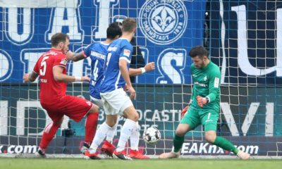 DARMSTADT, GERMANY - NOVEMBER 24: Rafael Czichos of Koeln scores his team's second goal past goalkeeper Daniel Heuer Fernandes of Darmstadt during the Second Bundesliga match between SV Darmstadt 98 and 1. FC Koeln at Merck-Stadion am Boellenfalltor on November 24, 2018 in Darmstadt, Germany. (Photo by Alex Grimm/Bongarts/Getty Images)