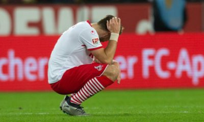 COLOGNE, GERMANY - DECEMBER 21: Rafael Czichos of Cologne grabs his head after the Second Bundesliga match between 1. FC Koeln and VfL Bochum 1848 at RheinEnergieStadion on December 21, 2018 in Cologne, Germany. (Photo by Juergen Schwarz/Bongarts/Getty Images)