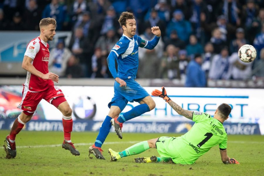 MAGDEBURG, GERMANY - DECEMBER 09: Christian Beck #11 of 1.FC Magdeburg scores his team's first goal during the Second Bundesliga match between 1. FC Magdeburg and 1. FC Union Berlin at MDCC Arena on December 9, 2018 in Magdeburg, Germany. (Photo by Maja Hitij/Bongarts/Getty Images)