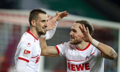 COLOGNE, GERMANY - DECEMBER 17: Dominick Drexler of Cologne (L) celebrates scoring the 2:0 goal with Rafael Czichos of Cologne during the Second Bundesliga match between 1. FC Koeln and 1. FC Magdeburg at RheinEnergieStadion on December 17, 2018 in Cologne, Germany. (Photo by Mika Volkmann/Bongarts/Getty Images)