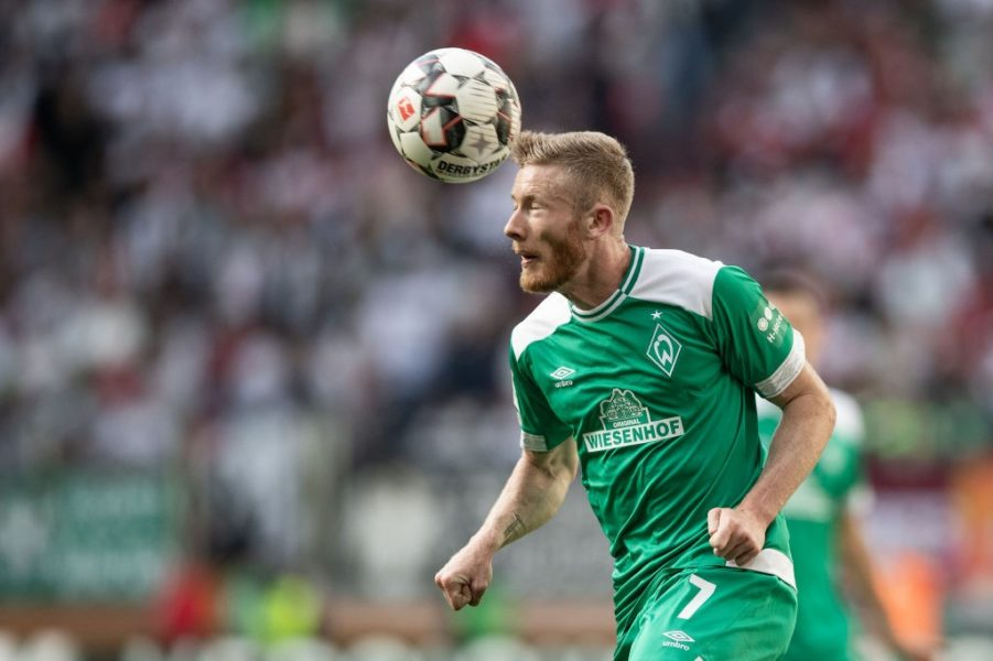 AUGSBURG, GERMANY - SEPTEMBER 22: Florian Kainz of Bremen in action during the Bundesliga match between FC Augsburg and SV Werder Bremen at WWK-Arena on September 22, 2018 in Augsburg, Germany. (Photo by Christian Kaspar-Bartke/Bongarts/Getty Images)