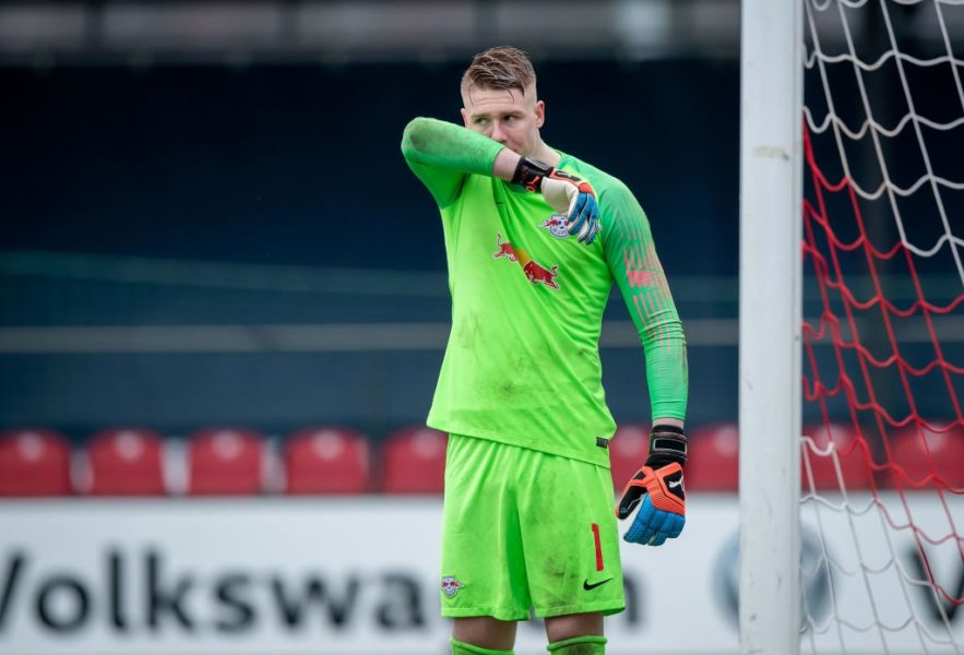 LEIPZIG, GERMANY - MARCH 16: Goalkeeper Julian Krahl of Leipzig reacts during the DFB Juniors Cup Semi Final at Stadion Cottaweg on March 16, 2019 in Leipzig, Germany. (Photo by Thomas Eisenhuth/Bongarts/Getty Images)