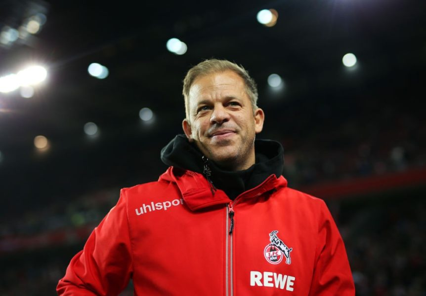 COLOGNE, GERMANY - FEBRUARY 08: Markus Anfang head coach of FC Koln looks on prior to the Second Bundesliga match between 1. FC Koeln and FC St. Pauli at RheinEnergieStadion on February 08, 2019 in Cologne, Germany. (Photo by Maja Hitij/Bongarts/Getty Images)