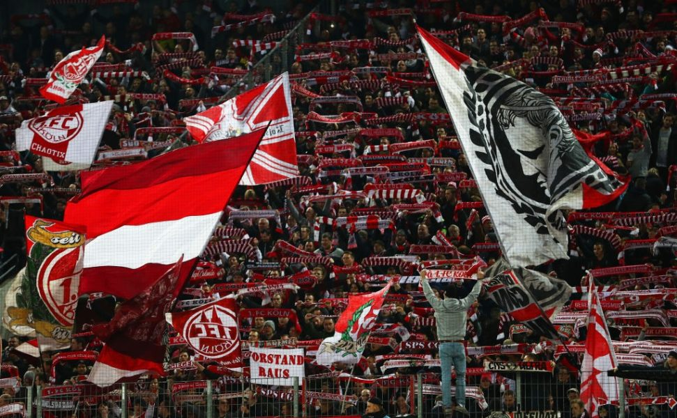 COLOGNE, GERMANY - FEBRUARY 08: FC Koln fans show their support prior to the Second Bundesliga match between 1. FC Koeln and FC St. Pauli at RheinEnergieStadion on February 08, 2019 in Cologne, Germany. (Photo by Maja Hitij/Bongarts/Getty Images)