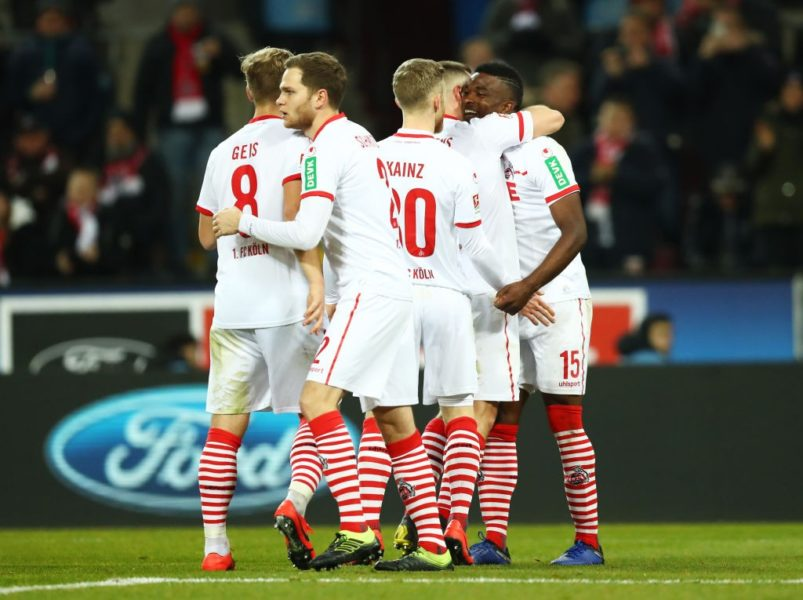 COLOGNE, GERMANY - FEBRUARY 08: Jhon Cordoba of FC Koln (15) celebrates after scoring his team's third goal and completes his hat trick with team mates during the Second Bundesliga match between 1. FC Koeln and FC St. Pauli at RheinEnergieStadion on February 08, 2019 in Cologne, Germany. (Photo by Maja Hitij/Bongarts/Getty Images)
