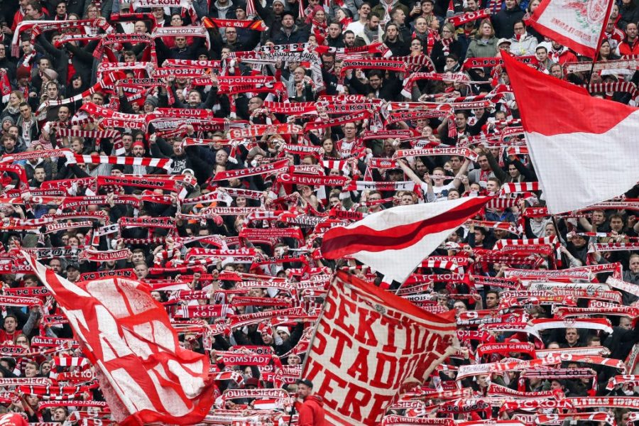 COLOGNE, GERMANY - DECEMBER 01: Fans of 1.FC Koeln during the Second Bundesliga match between 1. FC Koeln and SpVgg Greuther Fuerth at RheinEnergieStadion on December 1, 2018 in Cologne, Germany. (Photo by Maja Hitij/Bongarts/Getty Images)