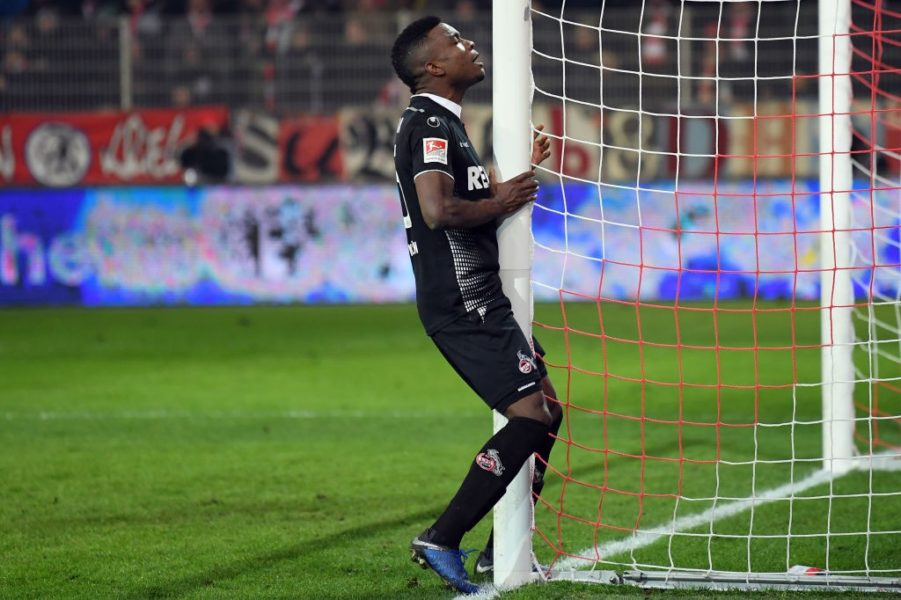 BERLIN, GERMANY - JANUARY 31: Jhon Cordoba of Koeln reacts during the Second Bundesliga match between 1. FC Union Berlin and 1. FC Koeln at Stadion An der Alten Foersterei on January 31, 2019 in Berlin, Germany. (Photo by Stuart Franklin/Bongarts/Getty Images)