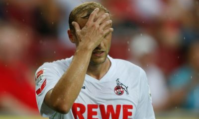 Cologne's midfielder Marcel Risse reacts during the German first division Bundesliga football match of FC Cologne vs SV Darmstadt 98 in Cologne, western Germany, on August 27, 2016.