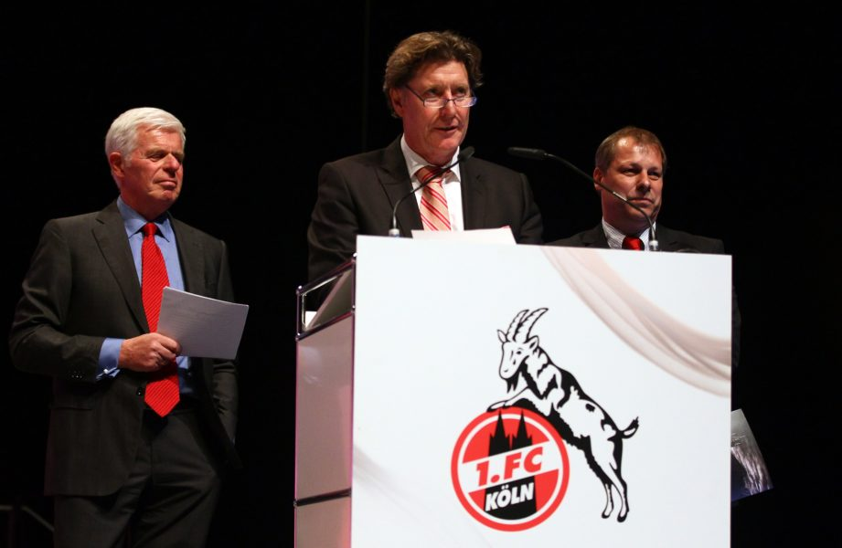 COLOGNE, GERMANY - APRIL 23: (L-R) Werner Spinner, Toni Schumacher and Markus Ritterbach present their concept during the extraordinary general meeting of 1. FC Koeln at LANXESS Arena on April 23, 2012 in Cologne, Germany. (Photo by Christof Koepsel/Bongarts/Getty Images)