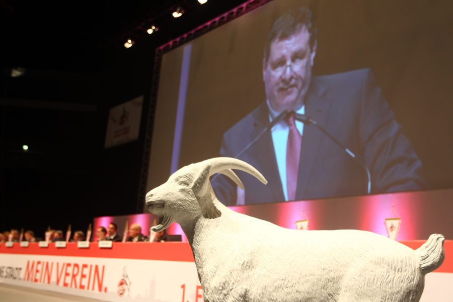 COLOGNE, GERMANY - APRIL 23: Werner Wolf, chairman of the administrative board leads the the extraordinary general meeting of 1. FC Koeln at LANXESS Arena on April 23, 2012 in Cologne, Germany. (Photo by Christof Koepsel/Bongarts/Getty Images)