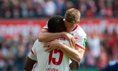 COLOGNE, GERMANY - MARCH 31: Jhon Cordoba of Cologne (L) and Simon Terodde celebrate during the Second Bundesliga match between 1. FC Koeln and Holstein Kiel at RheinEnergieStadion on March 31, 2019 in Cologne, Germany. (Photo by Juergen Schwarz/Bongarts/Getty Images)