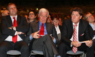COLOGNE, GERMANY - APRIL 23: (L-R) The designated vice-president Markus Ritterbach, the designated president Werner Spinner and the designated vice-president Toni Schumacher attend the extraordinary general meeting of 1. FC Koeln at LANXESS Arena on April 23, 2012 in Cologne, Germany. (Photo by Christof Koepsel/Bongarts/Getty Images)