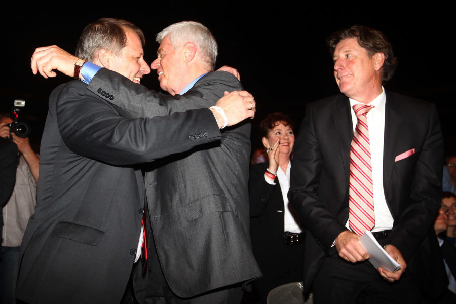 COLOGNE, GERMANY - APRIL 23: (L-R) Markus Ritterbach, vice-president, Werner Spinner, president and Toni Schumacher, vice-president celebrate after bein voted during the extraordinary general meeting of 1. FC Koeln at LANXESS Arena on April 23, 2012 in Cologne, Germany. (Photo by Christof Koepsel/Bongarts/Getty Images)