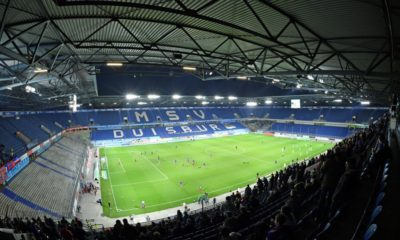 DUISBURG, GERMANY - FEBRUARY 25: (EDITORS NOTE: A fisheye lens was used creating this photo) A general view of the stadium prior to the 3. Liga match between KFC Uerdingen 05 and SC Preussen Muenster at Schauinsland-Reisen-Arena on February 25, 2019 in Duisburg, Germany. (Photo by Thomas F. Starke/Bongarts/Getty Images)