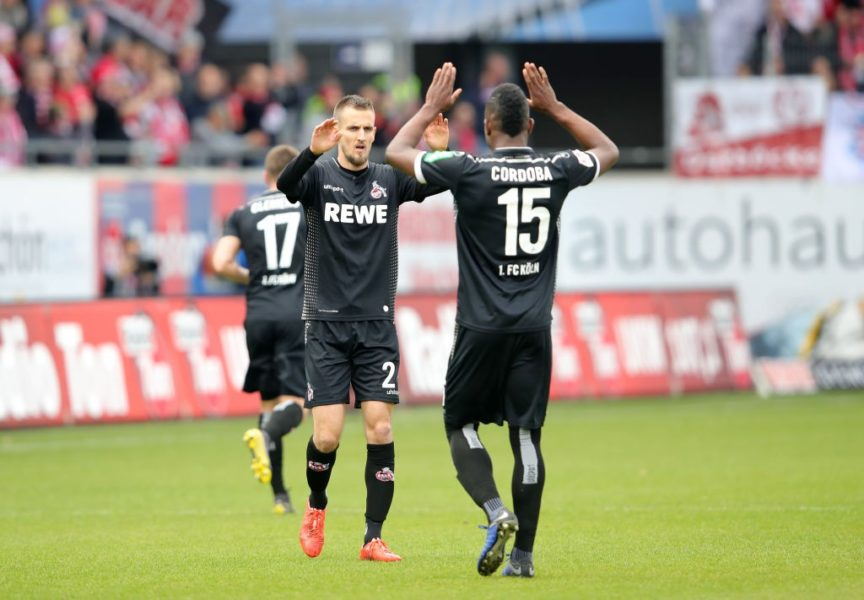 HEIDENHEIM, GERMANY - APRIL 07: Dominick Drexler of FC Koln celebrates after scoring his team's first goal with Jhon Cordoba of FC Koln during the Second Bundesliga match between 1. FC Heidenheim 1846 and 1. FC Koeln at Voith-Arena on April 07, 2019 in Heidenheim, Germany. (Photo by Alexander Hassenstein/Bongarts/Getty Images)