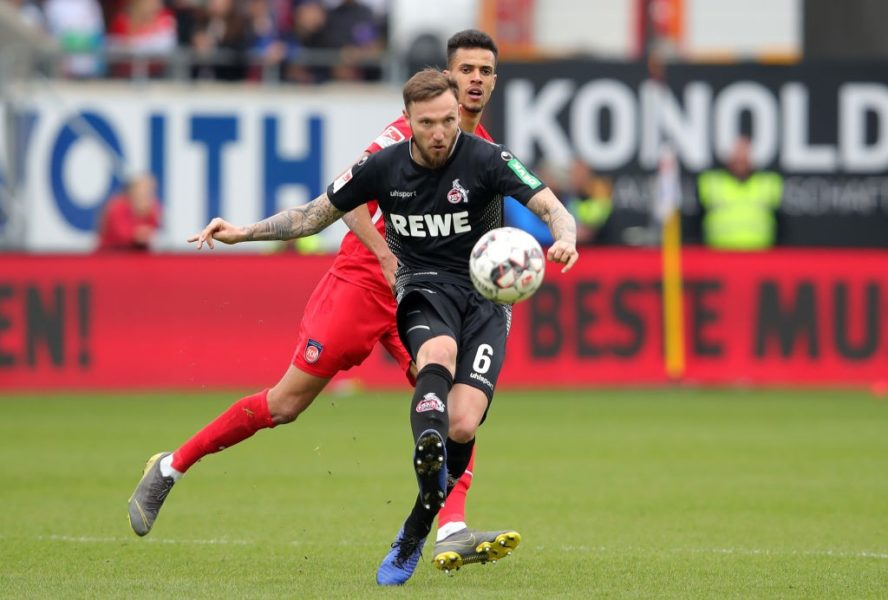 HEIDENHEIM, GERMANY - APRIL 07: Marco Hoeger of FC Koln in action during the Second Bundesliga match between 1. FC Heidenheim 1846 and 1. FC Koeln at Voith-Arena on April 07, 2019 in Heidenheim, Germany. (Photo by Alexander Hassenstein/Bongarts/Getty Images)